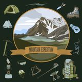 Set of mountaineering icons. Vector set of mountaineering icons and mountain landscape Stock Images