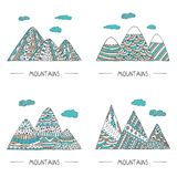 Set of mountains in doodle style. Hand drawn coloring vector illustration. Hand drawn vector landscapes with simple patterns. For decorations, greetings, cards Royalty Free Illustration