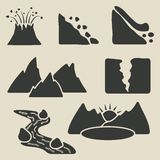Set of mountains icons Royalty Free Stock Image