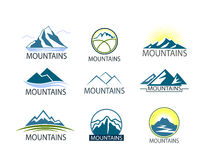 Set of Mountains logo, Icon in color. Climbing label, hiking travel and adventure Stock Photo