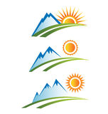 Set of Mountains road with Sun logo Royalty Free Stock Photography