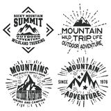 Set of mountains vintage stamp. T-shirt print design. Set of mountains vintage stamp. Printing and badge applique label t-shirts, jeans, casual wear. Vector Royalty Free Illustration