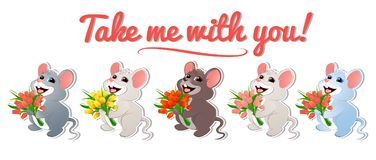 Set with mouse-01. Baby mouse with tulips of different colors. For congratulations on holidays March 8, birthday, anniversary. For banners, congratulatory stock illustration