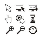 Set of mouse cursors hand cursor hourglass Royalty Free Stock Photo