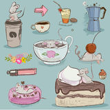 Set mouse with desserts and tea. Vector collection with cute mouse and desserts Stock Images