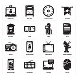 Set of Mouse, Laptop, Smartphone, Television, Radio, User, Mailbox, Compact disc, Video call icons. Set Of 16 simple  icons such as Mouse, Laptop, Keyboard Stock Photography