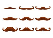 Set of Moustache Icon and Label. Father`s Day. Flat style. Vecto. R illustration Royalty Free Stock Photos