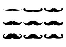 Set of Moustache Icon and Label. Father`s Day. Flat style. Vecto. R illustration Stock Photography