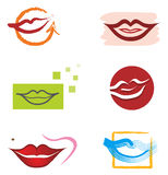 Set of Mouth and Lips Elements for Logo Designs Stock Photos