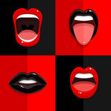 Set of mouth with open lips Stock Photography