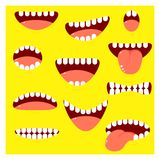 Set of mouths cartoon with different emotion. On yellow background. EPS8 royalty free illustration