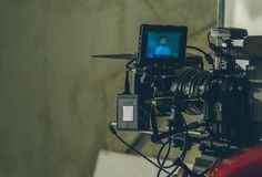 On-set movie camera. Close up in the studio stock images
