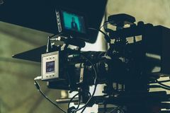 On-set movie camera. Close up in the studio stock photo