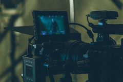On-set movie camera. Close up in the studio stock photos