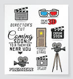 Set of movie and cinema related hand drawn design elements Royalty Free Stock Photo