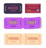 Set of Movie Cinema Tickets Admit One Vector Icons. Set of movie cinema tickets admit one vector illustration set isolated on white background. Coupon on pass Royalty Free Stock Photo