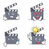 Set of movie clapper character with angry love waiting idea. Vector illustration Royalty Free Stock Photo