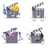 Set of movie clapper character with automotive silent juggling headphone. Vector illustration Royalty Free Stock Photos