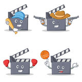 Set of movie clapper character with baseball cowboy boxing basketball. Vector illustration Stock Photos