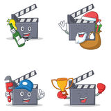 Set of movie clapper character with beer gift plumber winner. Vector illustration Stock Photos