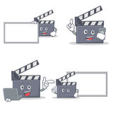 Set of movie clapper character with board phone laptop. Vector illustration Stock Photo