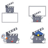 Set of movie clapper character with board police megaphone. Vector illustration Stock Images