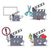 Set of movie clapper character with bring board sign barber artist. Vector illustration Royalty Free Stock Photos