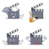 Set of movie clapper character with chef trumpet surprised tongue out. Vector illustration Royalty Free Stock Images