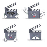 Set of movie clapper character with cool waving afraid crying. Vector illustration Stock Photography