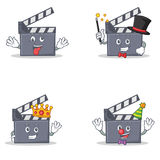 Set of movie clapper character with crazy magician king clown. Vector illustration Royalty Free Stock Images