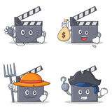Set of movie clapper character with doctor money bag farmer pirate. Vector illustration Royalty Free Stock Photography