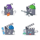Set of movie clapper character with elf army architect professor. Vector illustration Royalty Free Stock Photography