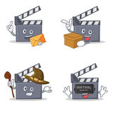 Set of movie clapper character with envelope box witch virtual. Vector illustration Stock Image
