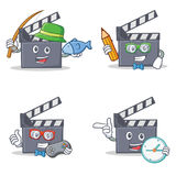 Set of movie clapper character with fishing student gamer clock. Vector illustration Royalty Free Stock Image