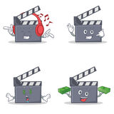 Set of movie clapper character with listening call me money eye Stock Image