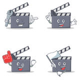 Set of movie clapper character with mechanic foam finger flag. Vector illustration Stock Photo