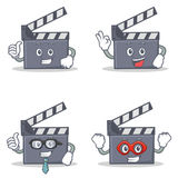 Set of movie clapper character with proud okay businessman hero Stock Image