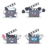 Set of movie clapper character with sailor fitness ice cream diving. Vector illustration Stock Photography