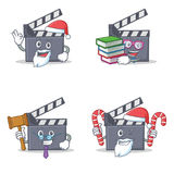 Set of movie clapper character with Santa candy book judge. Vector illustration Stock Image
