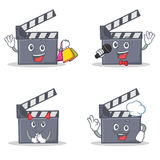 Set of movie clapper character with shopping karaoke devil chef. Vector illustration Stock Images