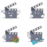 Set of movie clapper character with successful smirking gift guitar. Vector illustration Royalty Free Stock Photos