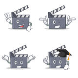 Set of movie clapper character with two finger wink graduation. Vector illustration Stock Photos