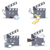 Set of movie clapper character with waiter menu photo binocular. Vector illustration Royalty Free Stock Image