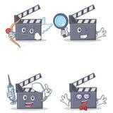 Set of movie clapper cupid detective nurse geek. Vector illustration Stock Image