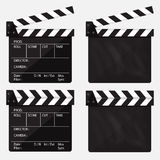 Set of movie clapperboard. Blank movie clapperboard. Vector. Royalty Free Stock Images