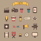 Set of movie design elements and cinema icons in. Doodle style Stock Image