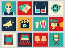 Set of movie design elements and cinema icons. In flat style vector illustration