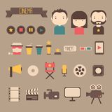 Set of movie design elements and cinema icons in. Flat style Royalty Free Stock Image
