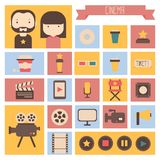 Set of movie design elements and cinema icons in. Flat style Stock Image