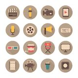 Set of movie design elements and cinema icons in. Flat style Royalty Free Stock Photo
